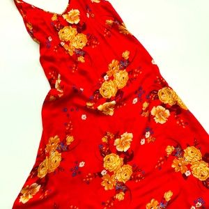 FREE PEOPLE red and floral nightgown Size large